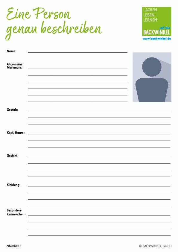 Personenbeschreibung aufbau 3 klasse bachelorarbeit fragebogen auswertung
