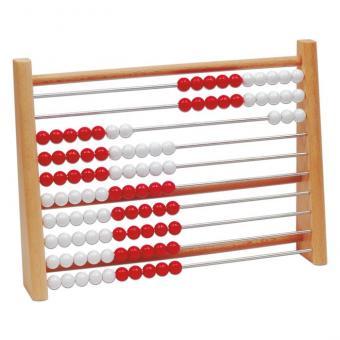 Rechenrahmen 1–100 mit roten und weißen Kugeln