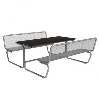 Sitz-Tisch-Kombination Parador Zwei Sitzreihen mit Rückenlehnen und Massivtischplatte
