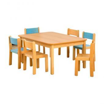 Rechteck-Tisch + 6 Massivholz-Stühle 46 cm / 26 cm