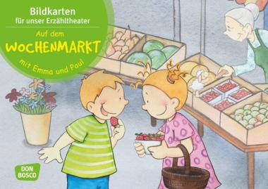 Kamishibai-Bildkarten, Auf dem Wochenmarkt mit Emma und Paul