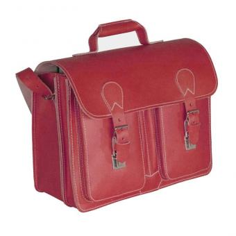 Lehrer-Büchertasche, Leder - rot