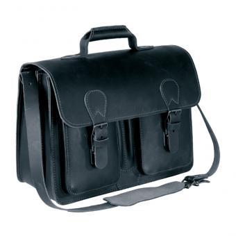 Lehrer-Büchertasche aus Leder in Schwarz