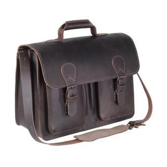 Lehrer-Büchertasche, Leder - dunkelbraun