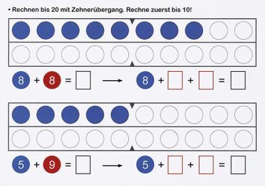 Rechnen mit Zahlen und Wendeplättchen, Zahlenraum 20