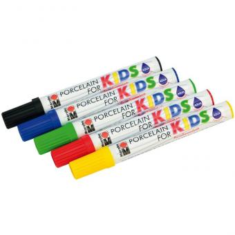 Porzellanstifte für Kinder 5 Stifte in Basisfarben