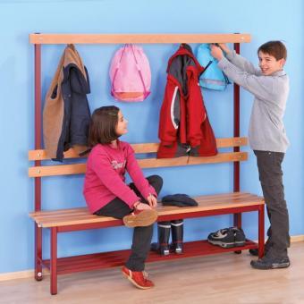 Schülergarderoben mit Sitzbank inkl. 6 Doppelhaken