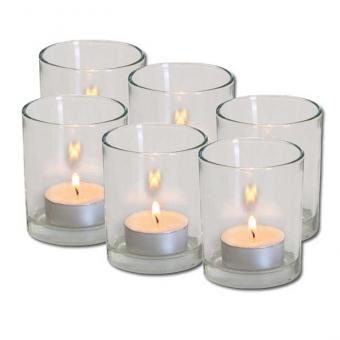 6 Glas-Windlichter