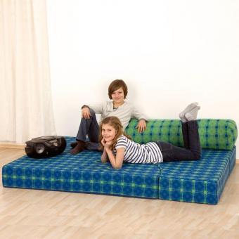 Bett-Sofa mit Trevira CS INKA Stoffbezug