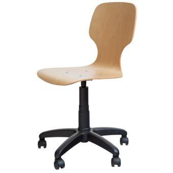 Drehstuhl mit Sitzschale mit Gewindespindel, mit Rollen, Sitzhöhe 50-69 cm