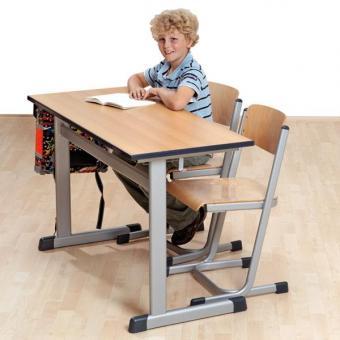 Schülertisch mit L-Fuß-Profil und Rollen Zweiertisch mit PU-Kante