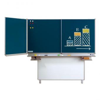 Klapp-Schiebetafeln Mittelfläche: 200 x 120 cm (blaue Stahlemaille)