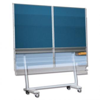 Fahrbare Klappschiebetafel mit Stahlemaille blau - Mittelfläche: 200 x 100 cm - Flügel: 100 x 100 cm