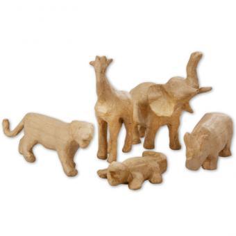 5 Pappmaché Tiere
