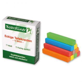 Boardliner-Tafelkreide, 12 Stück, viereckig, 6 Farben sortiert