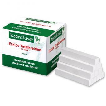 Boardliner-Tafelkreide, 72 Stück, viereckig, weiß