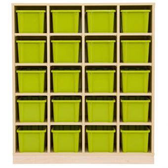 Garderoben-Fachregal CHIPPO mit 20 grünen Boxen
