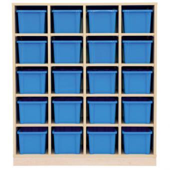 Garderoben-Fachregal CHIPPO mit 20 blauen Boxen