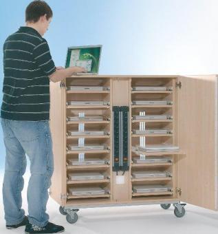 Notebook-Schrank Größe L mit 18 Einlegeböden (Ausreichend für 20 Geräte)