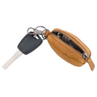 Schlüsselanhänger mit Münztasche, Echtleder - hellbraun