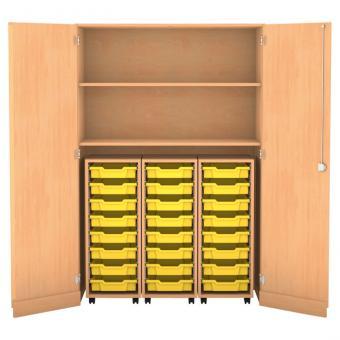 Garagenschrank, 190 x 126,4 x 60 cm, mit 3 Rollcontainern, 24 Boxen und 2 Böden