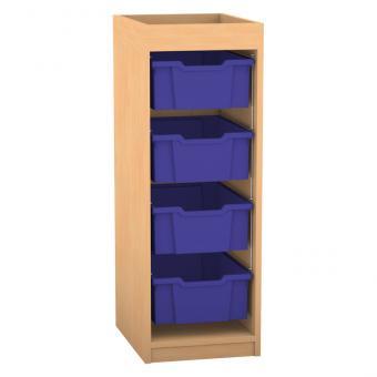 Regale PRO mit hohen Boxen und Aufkantung 1 Reihe, 4 hohe Boxen