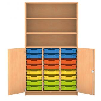 Halbtürenschrank - 24 flache Boxen, 2 Türen