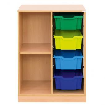 Klassenzimmerregal, 99,1 x 73,1 x 48, mit 4 Gratnells-Boxen und 1 Boden