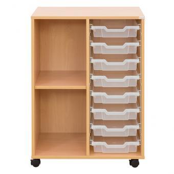 Klassenzimmerregal, 99,1 x 73,1 x 48, mit 8 Gratnells-Boxen und 1 Boden
