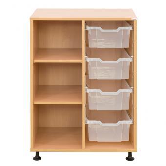Klassenzimmerregal, 99,1 x 73,1 x 48, mit 4 Gratnells-Boxen und 2 Böden