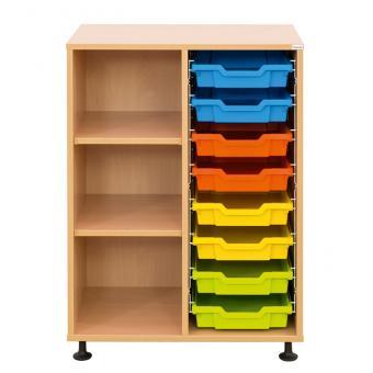 Klassenzimmerregal, 99,1 x 73,1 x 48, mit 8 Gratnells-Boxen und 2 Böden