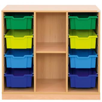 Klassenzimmerregal, 99,1 x 108,5 x 48, mit 8 Gratnells-Boxen und 1 Boden