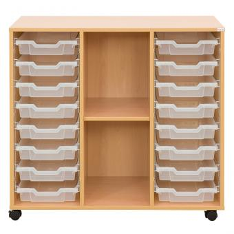 Klassenzimmerregal, 99,1 x 108,5 x 48, mit 16 Gratnells-Boxen und 1 Boden