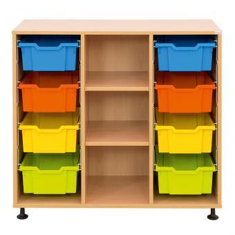 Klassenzimmerregal, 99,1 x 108,5 x 48, mit 8 Gratnells-Boxen und 2 Böden