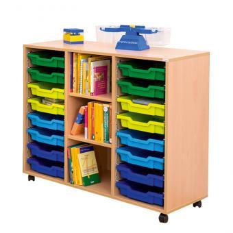 Klassenzimmerregal, 99,1 x 108,5 x 48, mit 16 Gratnells-Boxen und 2 Böden