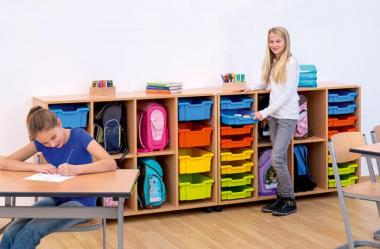 Klassenzimmerregal, 99,1 x 143,9 x 48, mit 16 Gratnells-Boxen und 2 Böden
