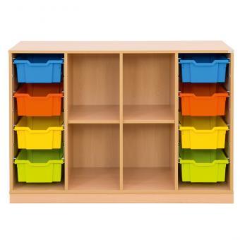 Klassenzimmerregal, 99,1 x 143,9 x 48, mit 8 Gratnells-Boxen und 2 Böden