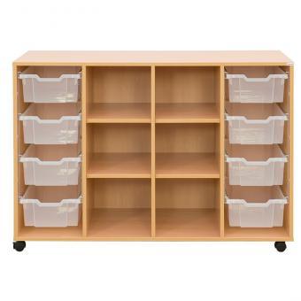 Klassenzimmerregal, 99,1 x 143,9 x 48, mit 8 Gratnells-Boxen und 4 Böden