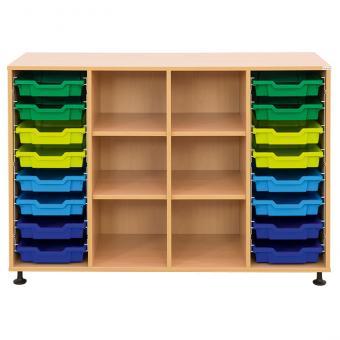Klassenzimmerregal, 99,1 x 143,9 x 48, mit 16 Gratnells-Boxen und 4 Böden