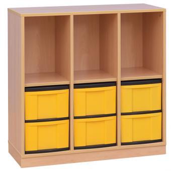 Klassenzimmerregal, 98 x 40,8 x 96,6, mit 3 Fächern und 6 Boxen