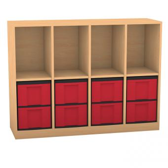 Klassenzimmerregal mit Boxen
