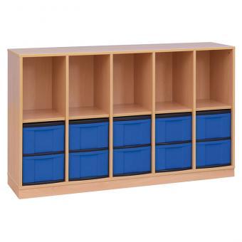 Klassenzimmerregal, 98 x 40,8 x 162,8, mit 5 Fächern und 10 Boxen