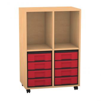 Klassenzimmerregal, 98 x 40,8 x 66,5, mit 2 Fächern und 8 Boxen