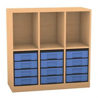 Klassenzimmerregal, 98 x 40,8 x 96,6, mit 3 Fächern und 12 Boxen