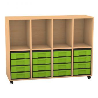 Klassenzimmerregal, 98 x 40,8 x 130,7, mit 4 Fächern und 16 Boxen