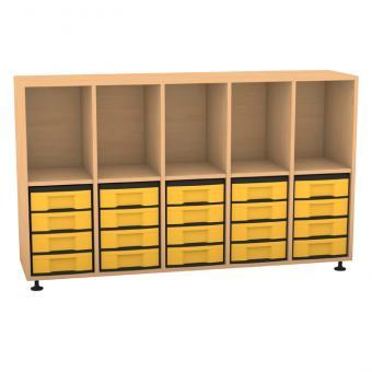 Klassenzimmerregal, 98 x 40,8 x 162,8, mit 5 Fächern und 20 Boxen