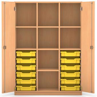 mittelhoher schrank 143 9 x 108 5 x 50 cm mit 12 boxen und 7 b den g nstig online kaufen. Black Bedroom Furniture Sets. Home Design Ideas
