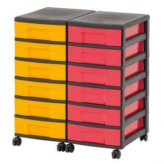 Flexeo® Rollcontainer-System mit 12 flachen Boxen