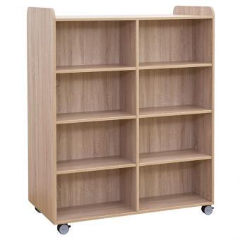 Flexeo® Bücherwagen breit, mit Mittelwand