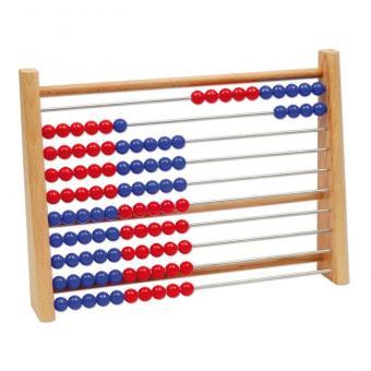 Rechenrahmen 1–100 mit roten und blauen Kugeln